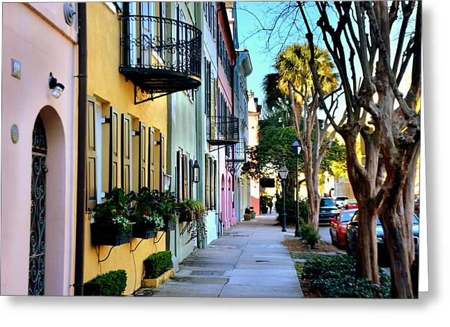 Rainbow Row Hdr Greeting Card