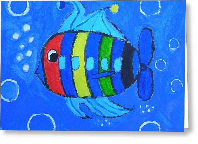 Rainbow Submarine Fish Greeting Card by Artists With Autism Inc