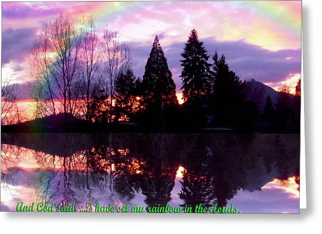 Rainbow Sunset Genesis Greeting Card by Michele Avanti