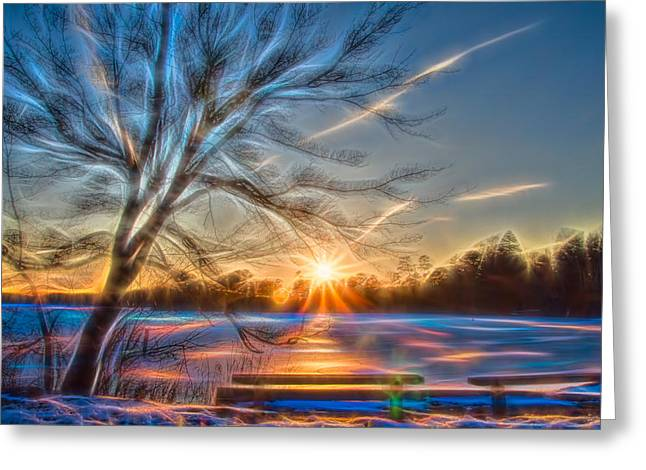 Rainbow Sunset On Snow Covered Lake Greeting Card