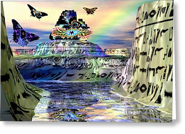 Rainbow Temple Greeting Card by Rebecca Phillips