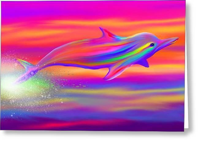Rainbow Tide Dolphin Greeting Card by Nick Gustafson
