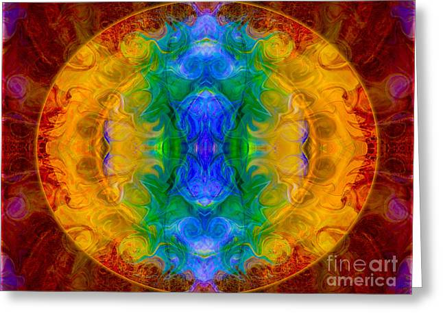 A Rainbow Of Chaos Abstract Mandala Artwork By Omaste Witkowski Greeting Card by Omaste Witkowski
