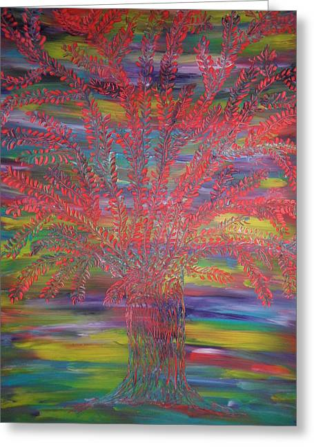 Greeting Card featuring the painting Rainbow Tree by Nico Bielow
