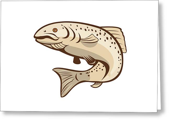 Rainbow Trout Jumping Cartoon  Greeting Card by Aloysius Patrimonio