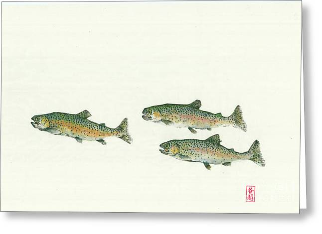 Rainbow Trout School Gyotaku Greeting Card