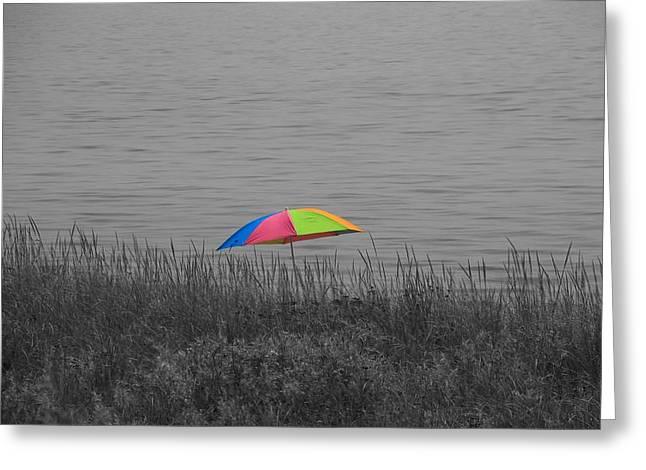 Rainbow Umbrella At The Beach Greeting Card