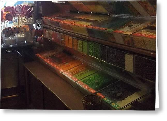 Rainbow Vintage Jelly Bean Shop Greeting Card
