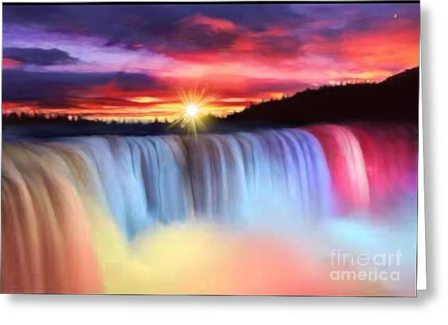Rainbow Waterfall Greeting Card by Belinda Threeths