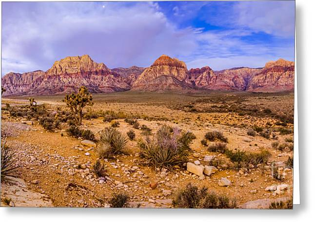 Rainbow Wilderness Panorama At Red Rock Canyon Before Sunrise - Las Vegas Nevada Greeting Card by Silvio Ligutti