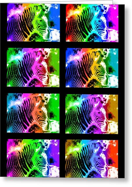 Rainbow Zebra Collage Greeting Card by Bruce Nutting
