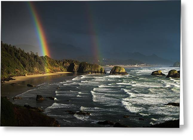 Rainbows Seen Through Storm Clouds Greeting Card