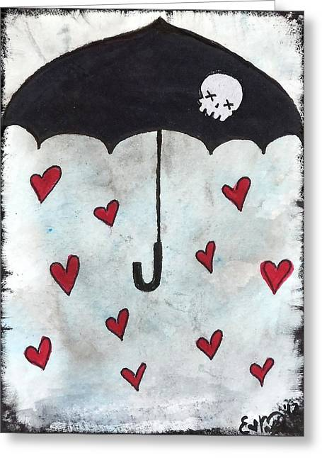 Greeting Card featuring the painting Raindrops Of Love by Oddball Art Co by Lizzy Love