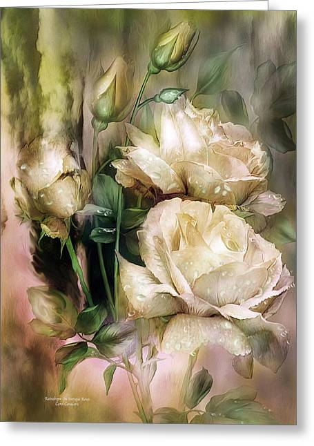 Raindrops On Antique White Roses Greeting Card by Carol Cavalaris