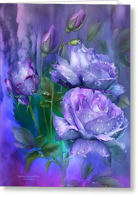Raindrops On Lavender Roses Greeting Card by Carol Cavalaris