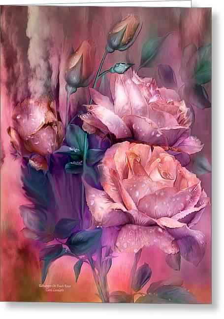 Raindrops On Peach Roses Greeting Card by Carol Cavalaris