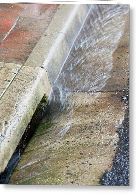 Rainfall In Gutter Greeting Card