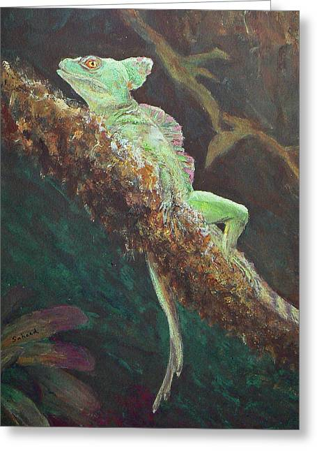 Rainforest Basilisk Greeting Card by Margaret Saheed
