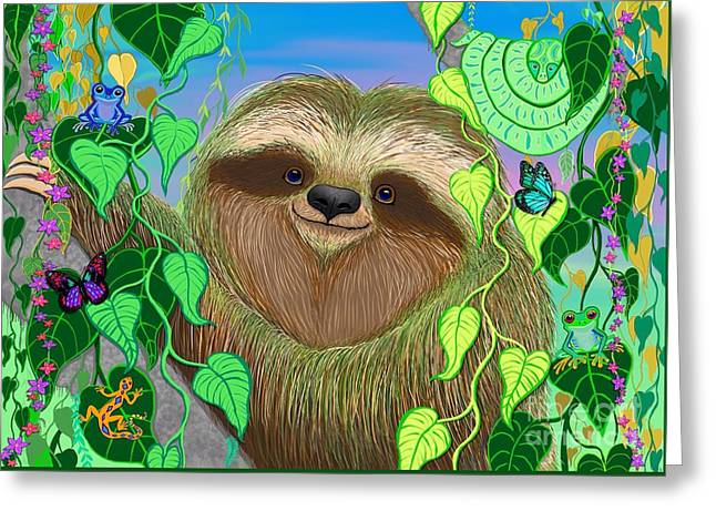 Rainforest Sloth Greeting Card by Nick Gustafson