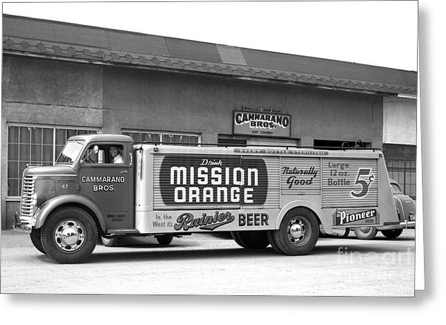 Rainier Beer Mission Orange Greeting Card