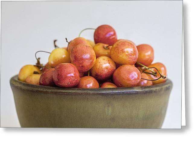 Rainier Cherries And Ceramic Bowl Greeting Card