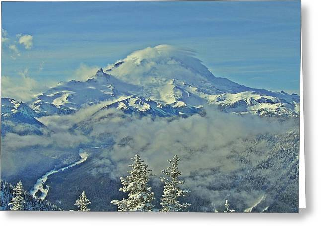Rainier Cloaked In Winter Greeting Card by Jeff Cook