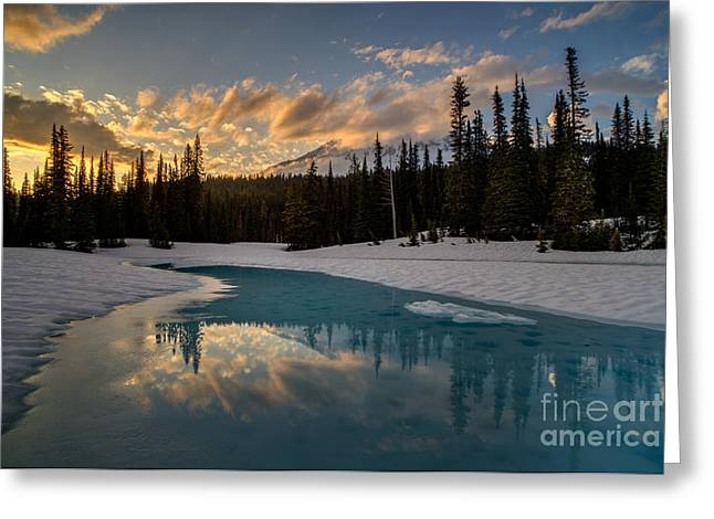 Rainier Fiery Skies Reflection Greeting Card by Mike Reid