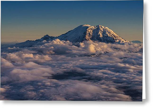 Rainier Hood Adams And St Helens From The Air Greeting Card
