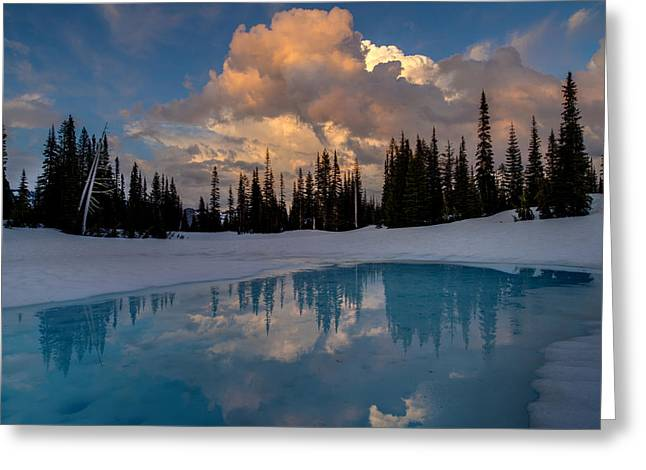 Rainier Stratus Clouds Reflection Greeting Card by Mike Reid