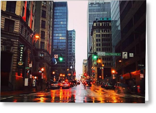 Raining In Baltimore Greeting Card by Toni Martsoukos