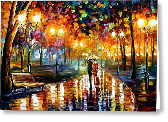Rain's Rustle - Palette Knife Oil Painting On Canvas By Leonid Afremov Greeting Card by Leonid Afremov