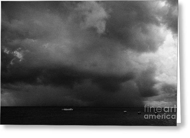Rainstorm Thunderstorm Storm Clouds Approaching Key West Florida Usa Greeting Card by Joe Fox