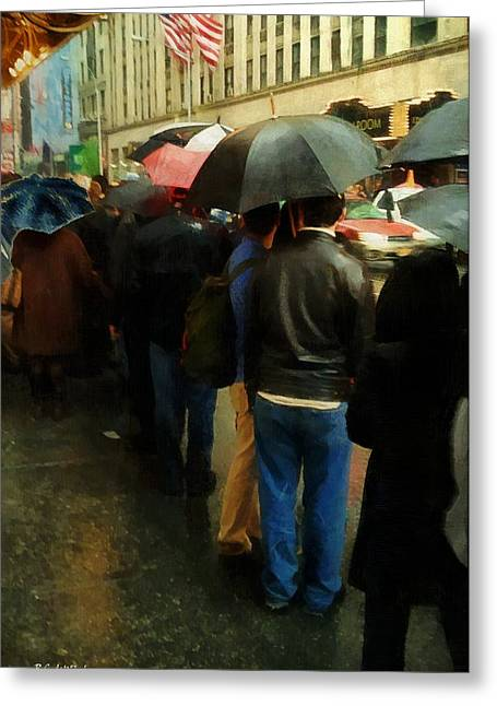 Rainy Afternoon On Broadway Greeting Card