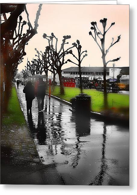 Rainy At The Pier Greeting Card by Lisa Alex