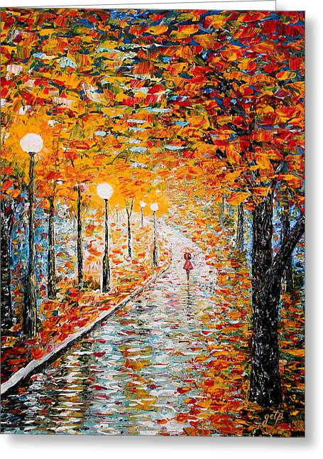 Greeting Card featuring the painting Rainy Autumn Day Palette Knife Original by Georgeta  Blanaru
