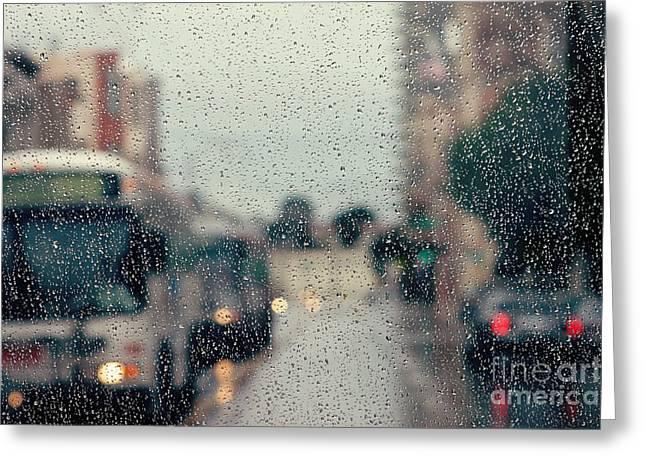 Rainy City Street Greeting Card by Kim Fearheiley