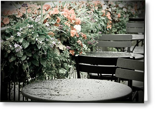 Greeting Card featuring the photograph Rainy Day At The Cafe by Erin Kohlenberg