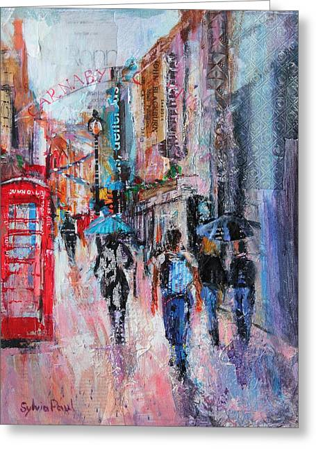 Rainy Day  Carnaby Street Greeting Card by Sylvia Paul