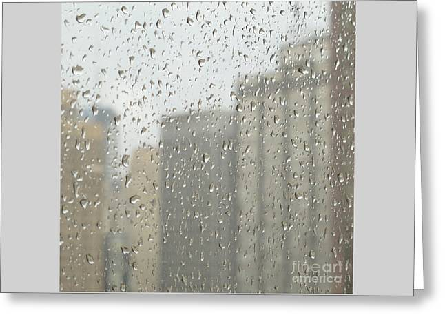 Rainy Day City Greeting Card by Ann Horn