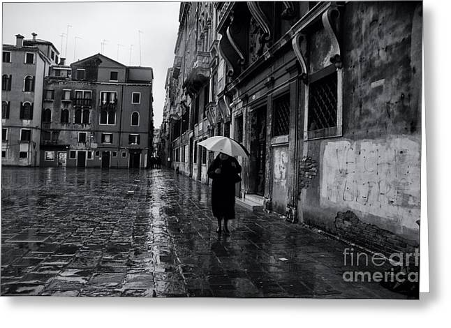 Rainy Day In Venice Greeting Card by Design Remix