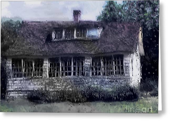 Rainy Day Long Ago House Greeting Card by RC deWinter