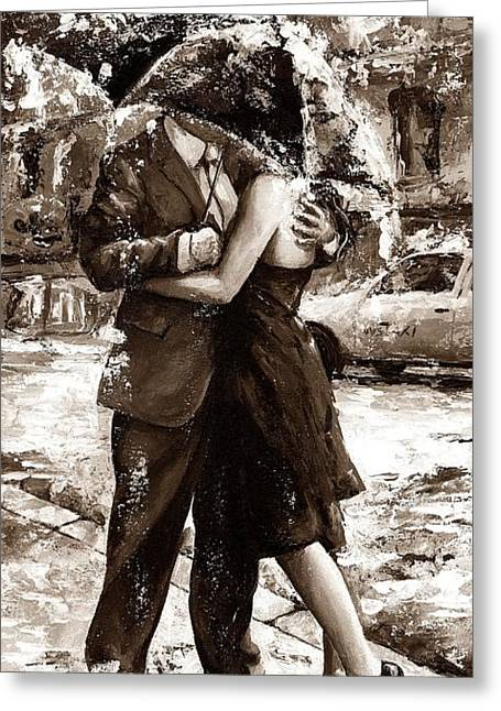 Rainy Day - Love In The Rain 2 Sepia Greeting Card by Emerico Imre Toth