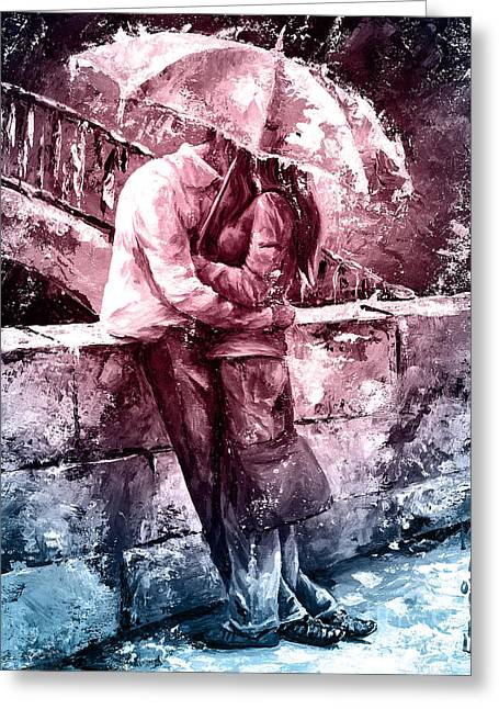 Rainy Day - Love In The Rain #color01 Greeting Card