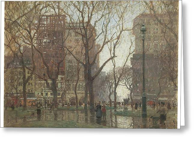 Rainy Day Madison Square New York Greeting Card by Paul Cornoyer