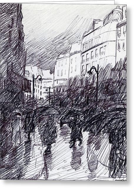 Rainy Day Paris Greeting Card by J Reifsnyder