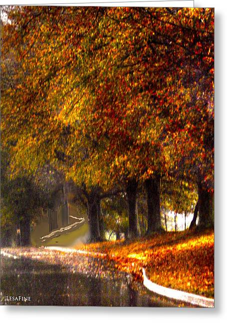 Greeting Card featuring the photograph Rainy Day Path by Lesa Fine