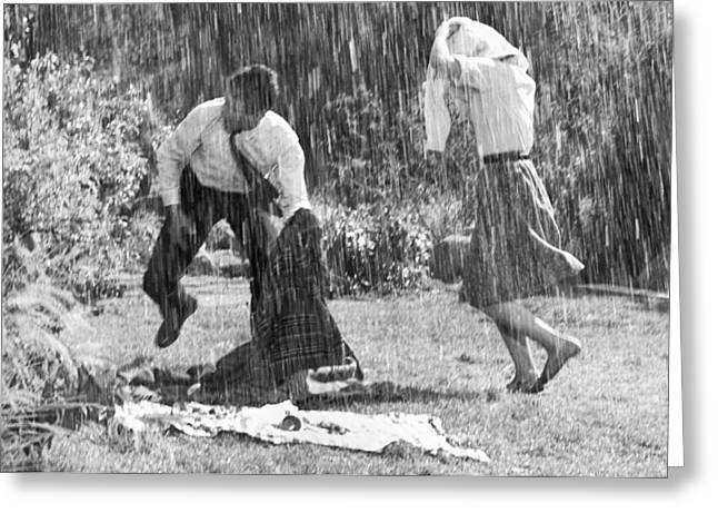 Rainy Day Picnic Greeting Card by Underwood Archives