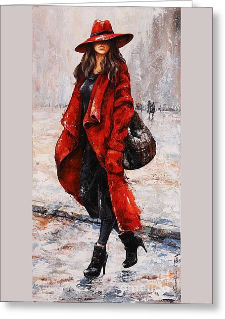 Rainy Day - Red And Black #2 Greeting Card