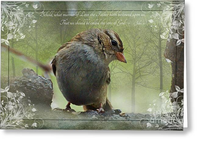 Rainy Day Sparrow With Verse Greeting Card