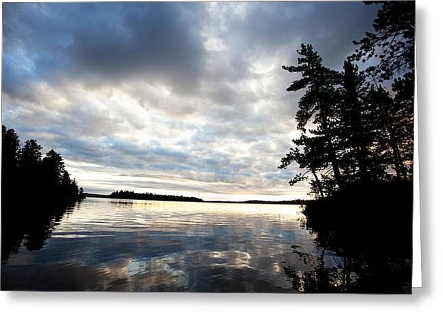 Rainy Lake Bay Greeting Card by Lori Knisely